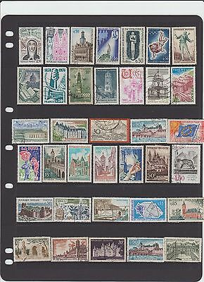 selection of 36  used stamps from  France,churches chateaus ,etc