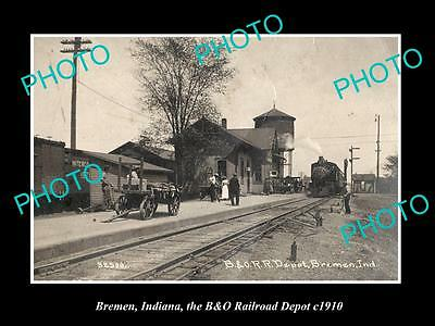 OLD LARGE HISTORIC PHOTO OF BREMEN INDIANA, THE RAILROAD DEPOT STATION c1910