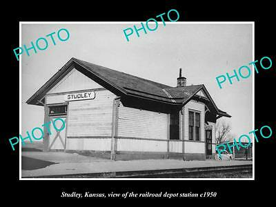 OLD LARGE HISTORIC PHOTO OF STUDLEY KANSAS, VIEW OF THE RAILROAD DEPOT c1950