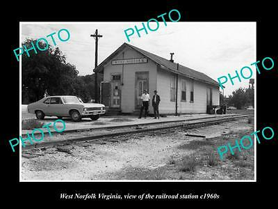 OLD LARGE HISTORIC PHOTO OF WEST NORFOLK VIRGINIA, THE RAILROAD STATION c1960