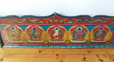 Asian Nepalese Tibetan Vintage Antique Wooden Painted Buddha Mural Wall Panel