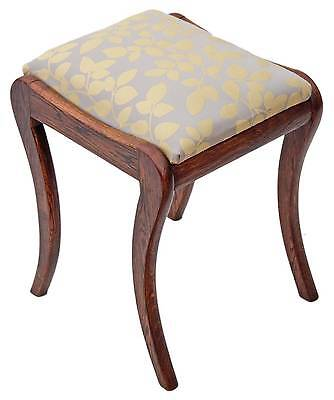 Antique Victorian / Early 20C oak dressing table stool window seat chair