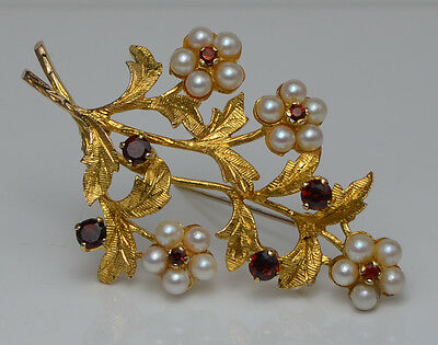 Vintage 9ct Gold Art Nouveau Pearl & Ruby Branch Brooch / Pin 9g