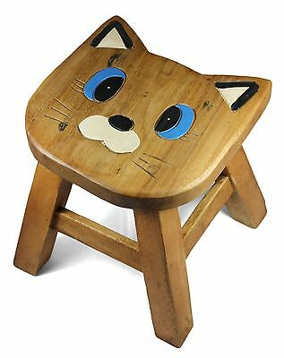 Kids Childrens Childs Wooden Stool Chair. Big Face Cat