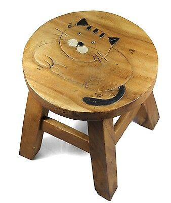 Kids Childrens Childs Wooden Stool Chair. Fat Cat
