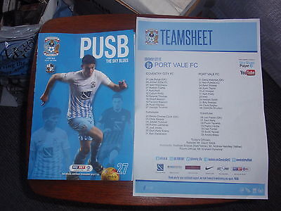 COVENTRY CITY v PORT VALE - 21/03/2017 - PROGRAMME AND TEAMSHEET