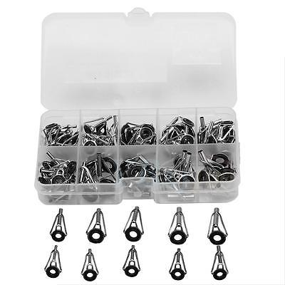 80Pcs Stainless Steel Fishing Rod Rings Guides Tip Repair Tackle With Box WD