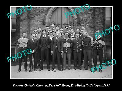 OLD LARGE HISTORIC PHOTO OF TORONTO CANADA, St MICHAELS BASEBALL TEAM 1931