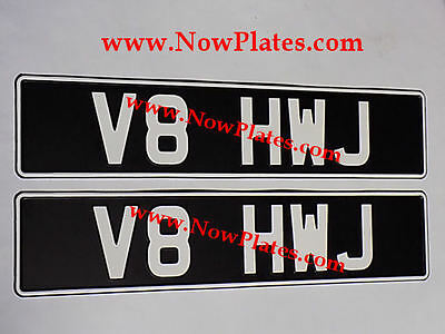 Pair of Black and White Pressed Number Oblong Plates