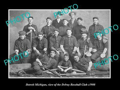 OLD LARGE HISTORIC PHOTO OF DETROIT MICHIGAN, THE DELRAY BASEBALL CLUB c1900