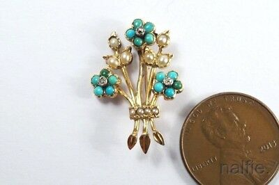 ANTIQUE ENGLISH 18K GOLD TURQUOISE PEARL & DIAMOND FORGET ME NOT LACE PIN c1840