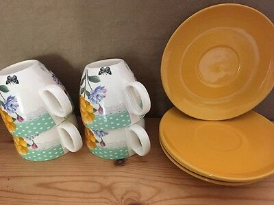 4 Vintage Style Floral Teacup And Saucers.