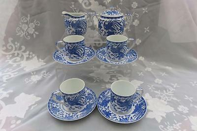 Noritake Howo Asiatic Pheasant Blue & White Cups Saucers Milk Jug & Sugar Bowl