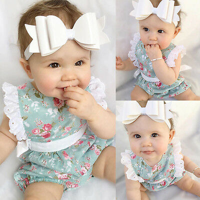 Newborn Toddler Baby Girl Clothes Cute Lace Floral Romper Bodysuit Outfits 0-24M