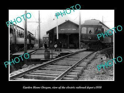 Old Large Historic Photo Of Garden Home Oregon, The Electric Railroad Depot 1910