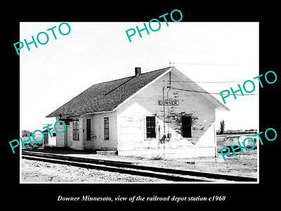 OLD LARGE HISTORIC PHOTO OF DOWNER MINNESOTA, THE RAILROAD DEPOT STATION c1960
