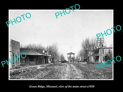 OLD LARGE HISTORIC PHOTO OF GREEN RIDGE MISSOURI, VIEW OF THE MAIN STREET c1910