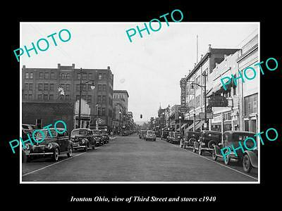 OLD LARGE HISTORIC PHOTO OF IRONTON OHIO, VIEW OF THIRD STREET & STORES c1940