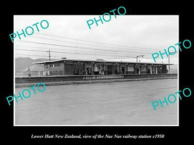 OLD LARGE HISTORIC PHOTO OF LOWER HUTT NEW ZEALAND, NAENAE RAILWAY STATION c1950