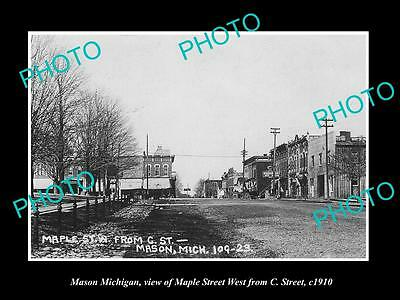 OLD LARGE HISTORIC PHOTO OF MASON MICHIGAN, VIEW OF MAPLE St & STORES c1910