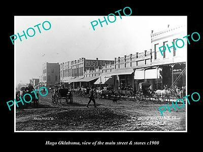 OLD LARGE HISTORIC PHOTO OF HUGO OKLAHOMA, THE MAIN STREET & STORES c1900