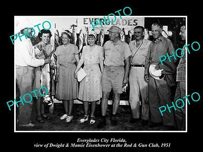 Old Historic Photo Of Everglades City Florida Dwight Eisenhower At Gun Club 1951
