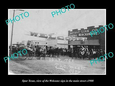 OLD LARGE HISTORIC PHOTO OF SPUR TEXAS, THE MAIN STREET WELCOME SIGN c1900