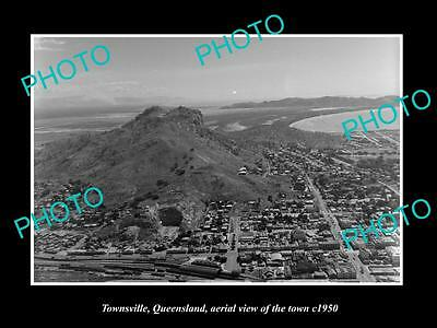 OLD LARGE HISTORIC PHOTO OF TOWNSVILLE QUEENSLAND, AERIAL VIEW OF TOWN c1950 2