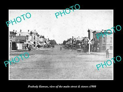 OLD LARGE HISTORIC PHOTO OF PEABODY KANSAS, THE MAIN STREET & STORES c1900