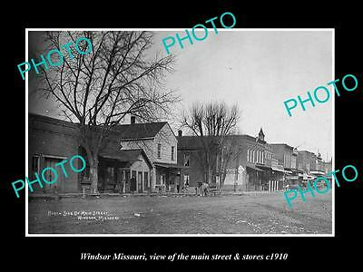 OLD LARGE HISTORIC PHOTO OF WINDSOR MISSOURI, THE MAIN STREET & STORES c1910 2