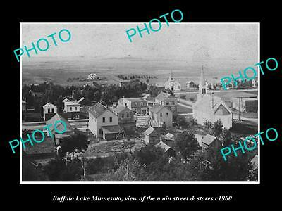 OLD LARGE HISTORIC PHOTO OF BUFFALO LAKE MINNESOTA, MAIN STREET & STORES c1900
