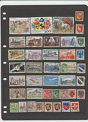 selection of 40  used stamps from france,shields, buildings,etc