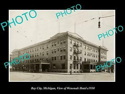 OLD LARGE HISTORIC PHOTO OF BAY CITY MICHIGAN, THE WENONAH HOTEL c1910