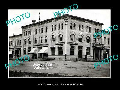 OLD LARGE HISTORIC PHOTO OF ADA MINNESOTA, VIEW OF THE ADA HOTEL c1910