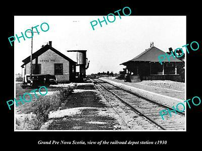 OLD LARGE HISTORIC PHOTO OF GRAND PRE NOVA SCOTIA RAILROAD DEPOT STATION c1930