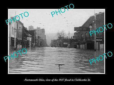OLD LARGE HISTORIC PHOTO OF PORTSMOUTH OHIO, FLOOD WATERS IN MAIN STREET c1937