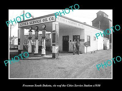 OLD LARGE HISTORIC PHOTO OF FREEMAN SOUTH DAKOTA, THE CITIES GAS STATION c1930
