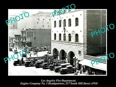 OLD HISTORIC PHOTO OF LOS ANGELES FIRE DEPARTMENT, ENGINE Co No 3 STATION c1930