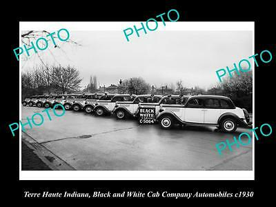 OLD LARGE HISTORIC PHOTO OF TERRE HAUTE INDIANA, THE CAB Co CARS c1930