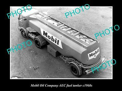 OLD LARGE HISTORICAL PHOTO OF MOBIL OIL COMPANY FUEL TANKER, AEC TRUCK c1960s
