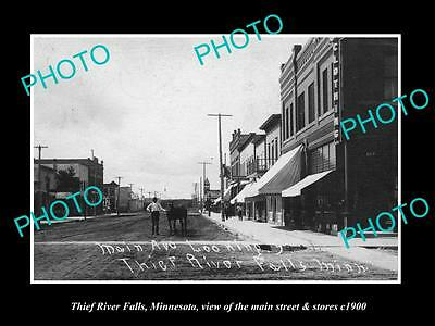 OLD LARGE HISTORIC PHOTO OF THIEF RIVER FALLS MINNESOTA, MAIN St & STORES c1900