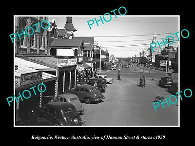 OLD LARGE HISTORIC PHOTO OF KALGOORLIE WA, VIEW OF HANNAN St & STORES c1950 1