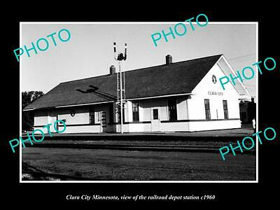 OLD LARGE HISTORIC PHOTO OF CLARA CITY MINNESOTA, RAILROAD DEPOT STATION c1960