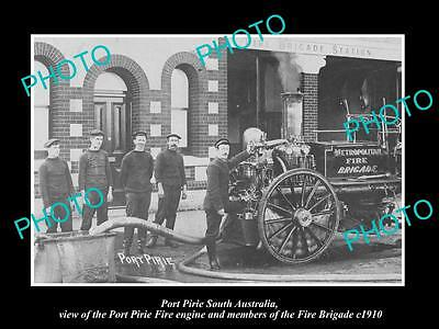 OLD LARGE HISTORIC PHOTO OF PORT PIRIE SA, THE PORT PIRIE FIRE BRIGADE c1910