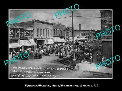 OLD LARGE HISTORIC PHOTO OF PIPESTONE MINNESOTA, THE MAIN STREET & STORES c1900