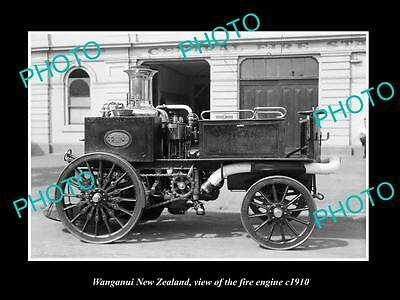 OLD LARGE HISTORIC PHOTO OF WANGANUI NEW ZEALAND, THE FIRE STATION ENGINE c1910