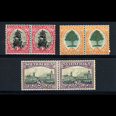 SOUTH AFRICA. 1930-44 3 Pairs Mint. 1d,  2d, 6d. SG 43, 44bw, 47. Toned. (AR353)