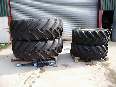 Tractor Tyres Michelin 600/65/38 + 480/65/28 on rims to fit Massey Ferguson 6480