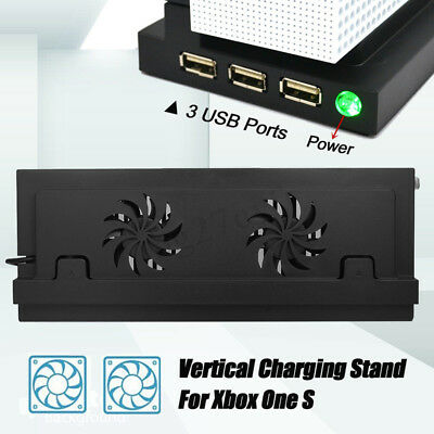 USB Vertical Stand Holder with Two Durable Cooling Fan For Xbox One S Console