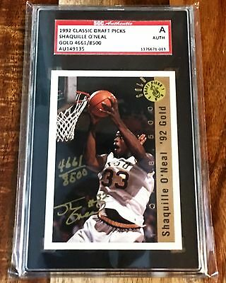 1992 Classic Gold Shaquille O'Neal AUTO #/8500 Rookie RC AU, SGC Authentic